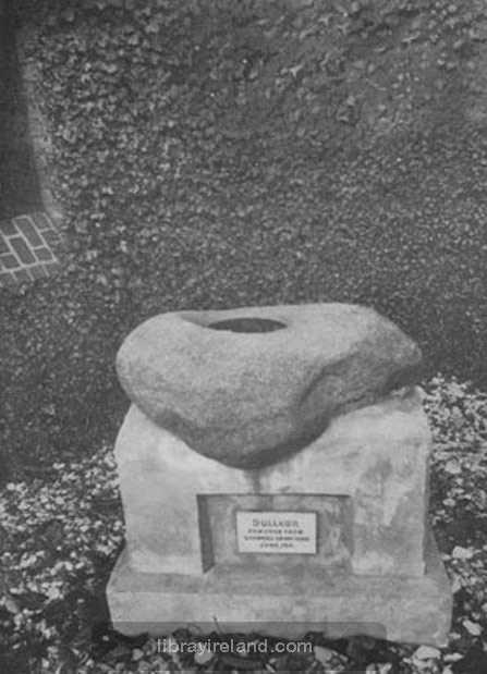 Baptismal Font in the old church at Shankill, Belfast, also called The Wart Stone