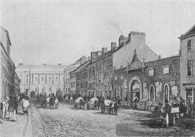 The Green Linen Market and Commercial Buildings, Belfast, in 1839