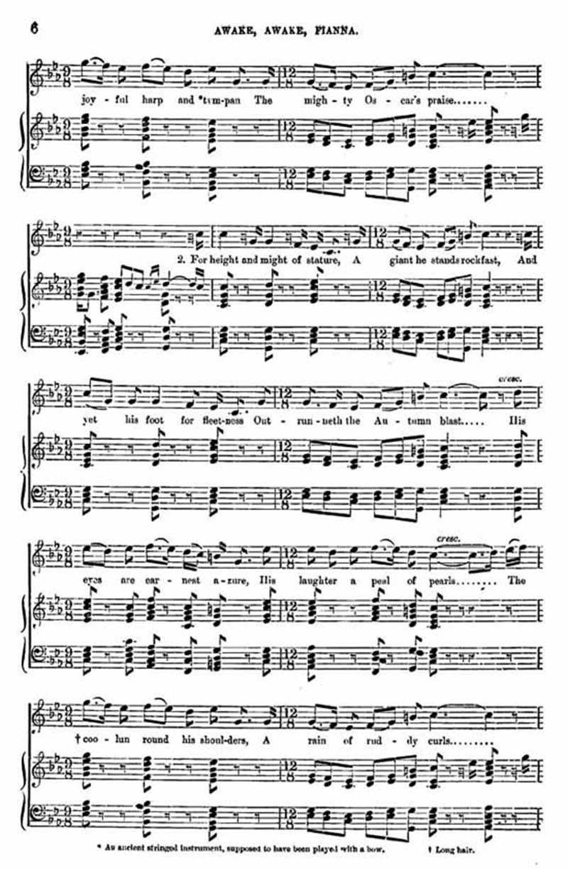 Music score to Awake, awake, Fianna