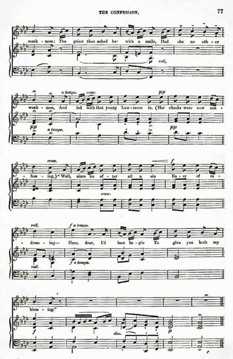 Music score to The Confession