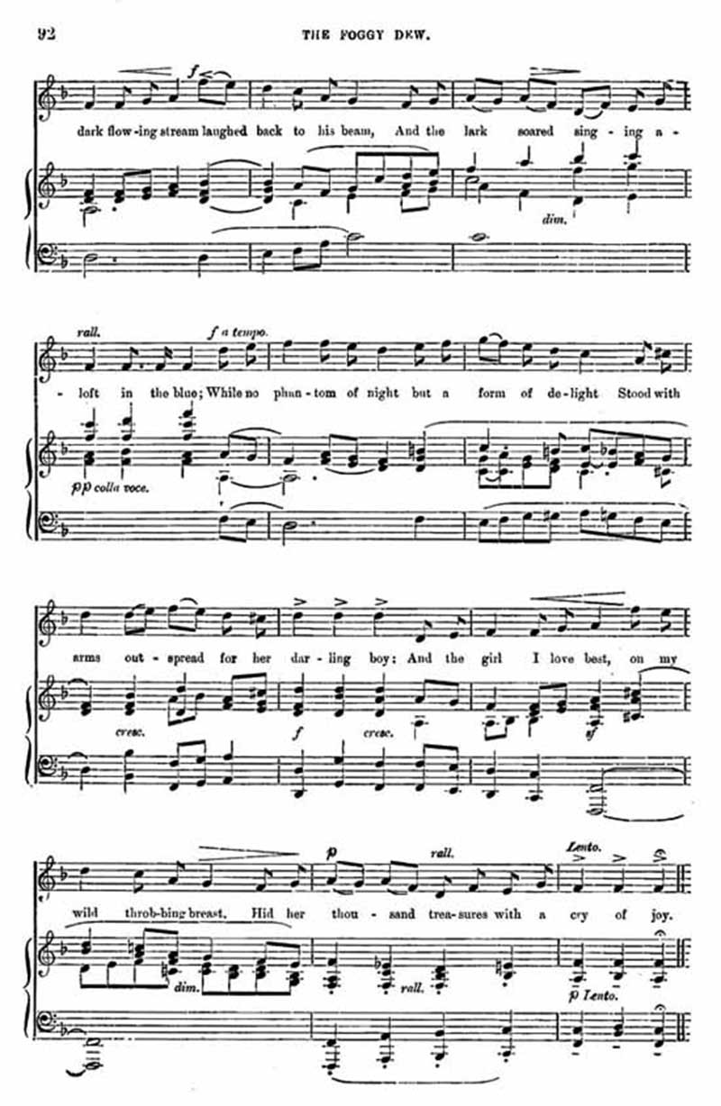 Music score to Foggy Dew
