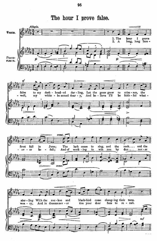 Music score to The hour I prove false