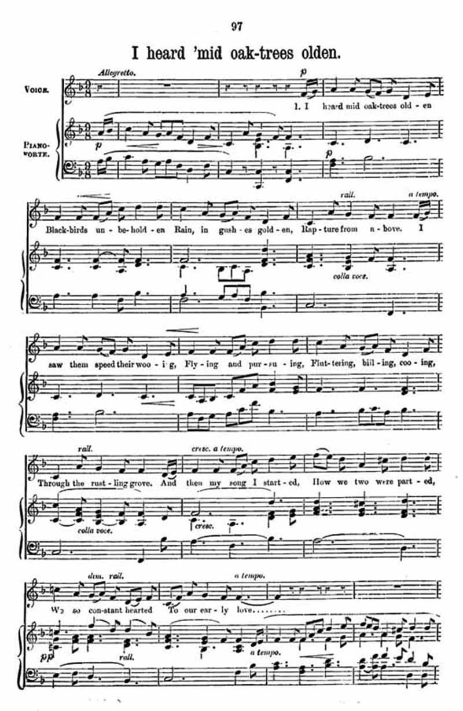 Music score to I heard 'mid oak-trees olden