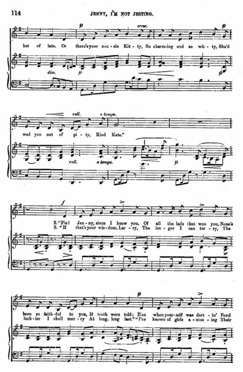 Music score to Jenny, I'm not jesting