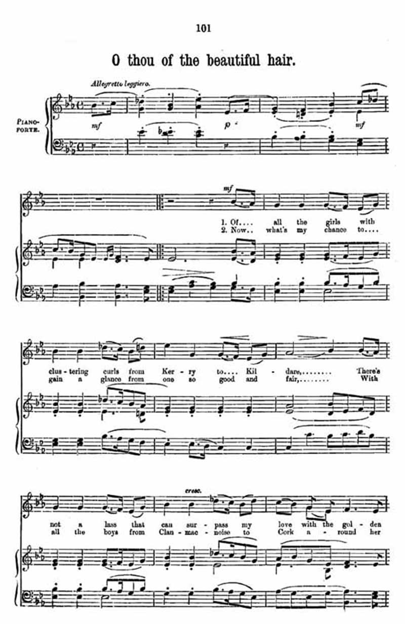 Music score to O thou of the beautiful hair