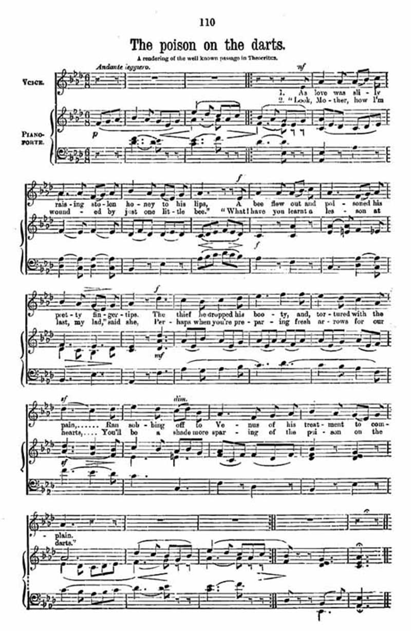 Music score to The Poison on the Darts