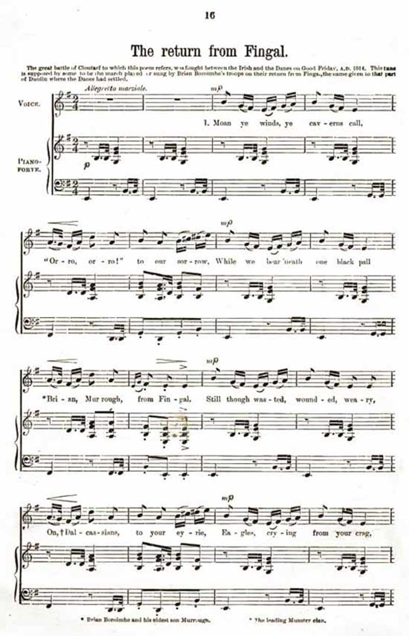 Music score to The Return from Fingal