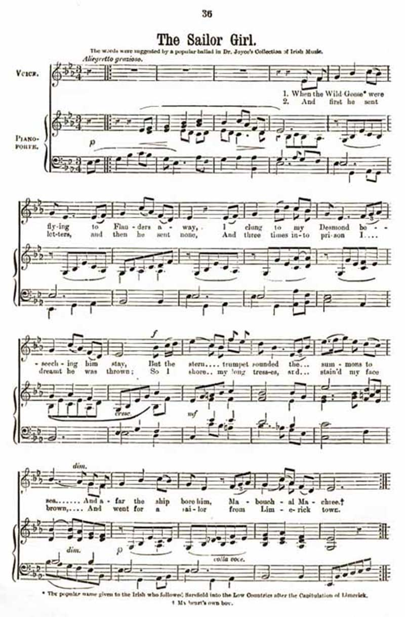 Music score to Sailor Girl