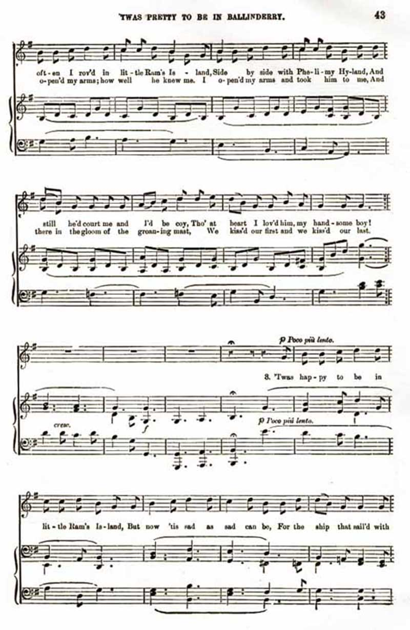 Music score to 'Twas pretty to be in Ballinderry
