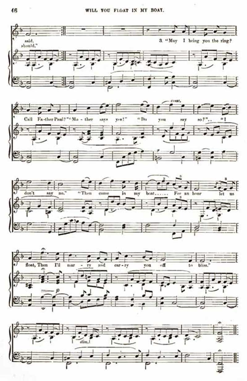Music score to Will you float in my boat