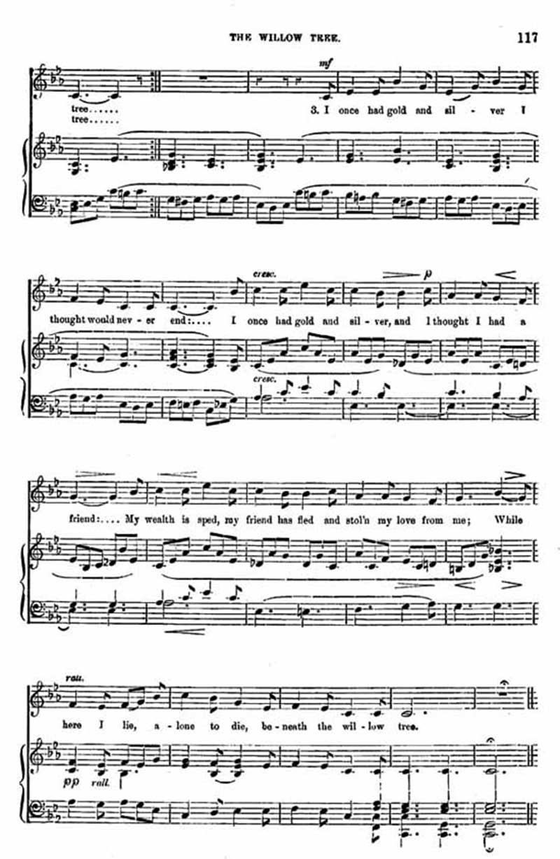 Music score to The Willow Tree