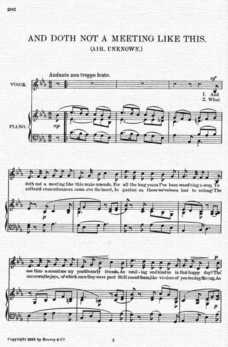 Music score to And doth not a meeting like this