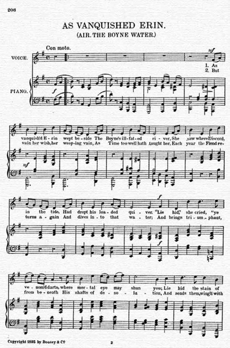 Music score to As vanquished Erin