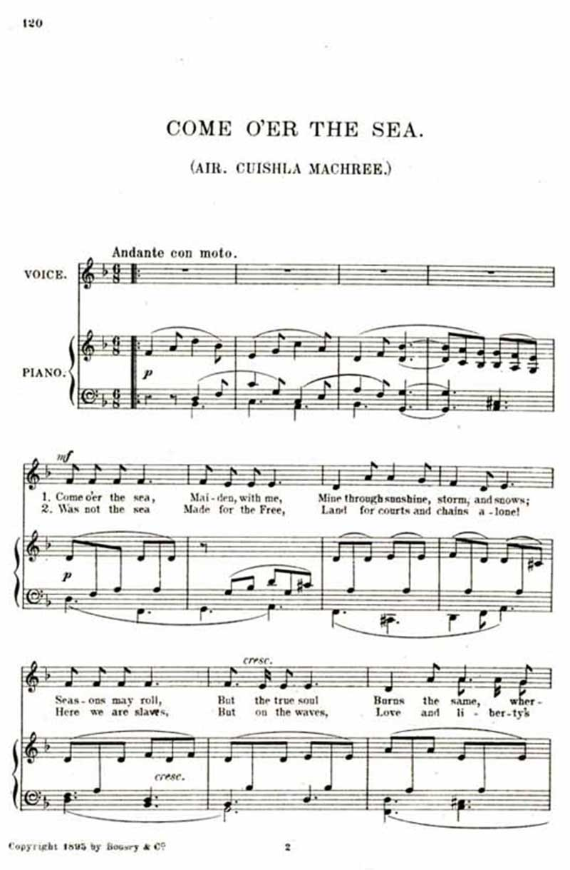 Music score to Come o'er the sea