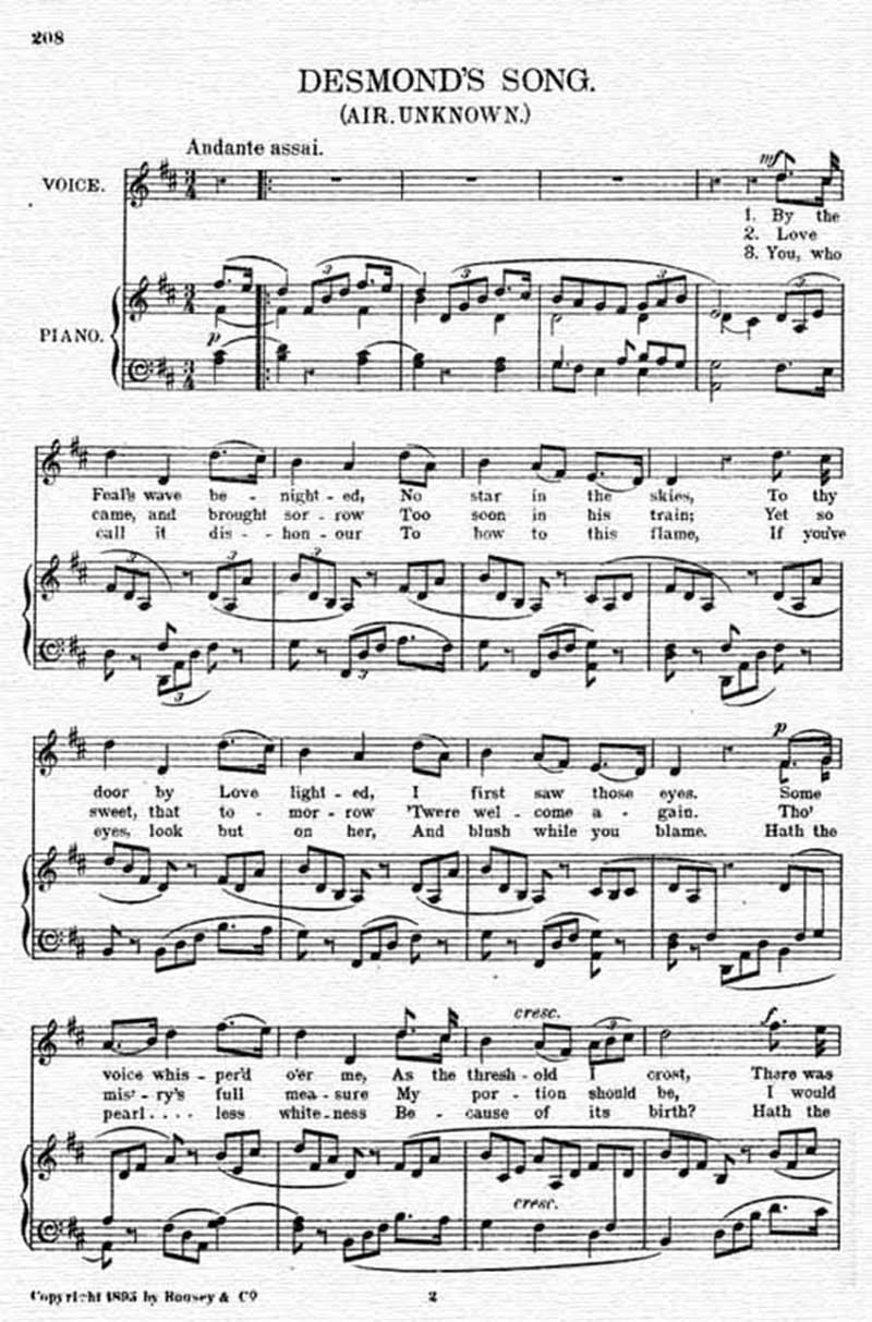 Music score to Desmond's song