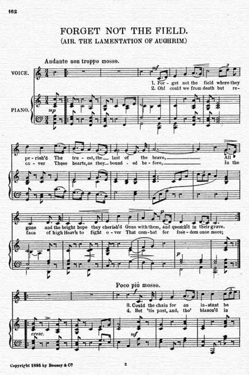 Music score to Forget not the field