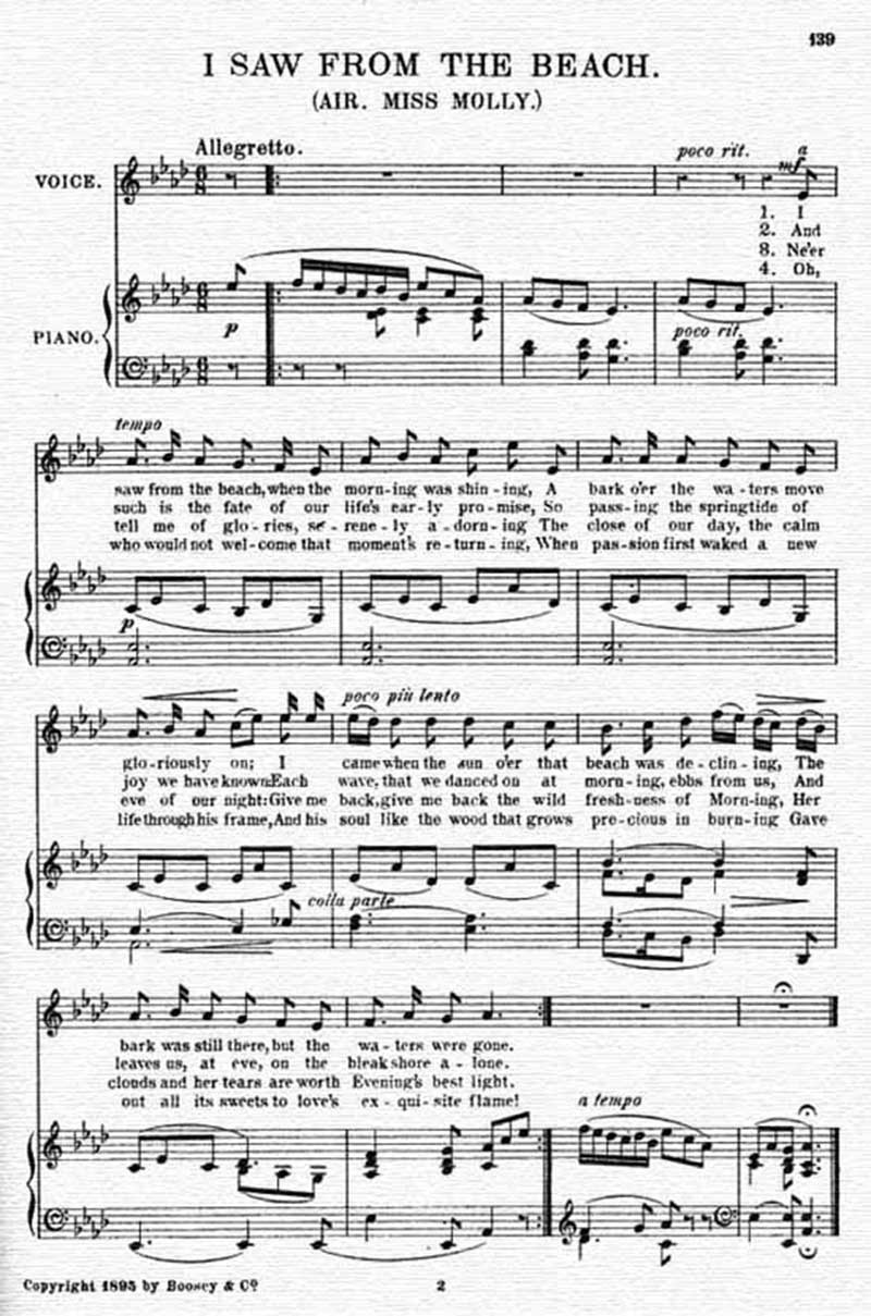 Music score to I saw from the beach