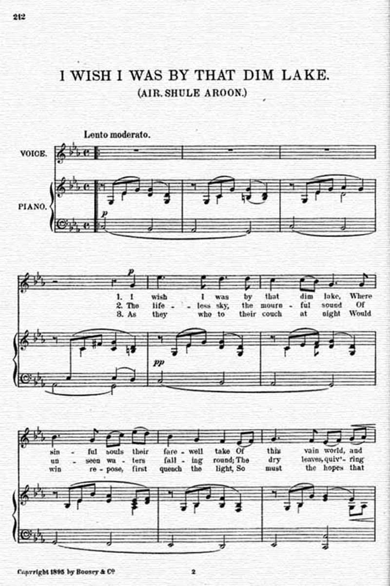 Music score to I wish I was by that dim lake