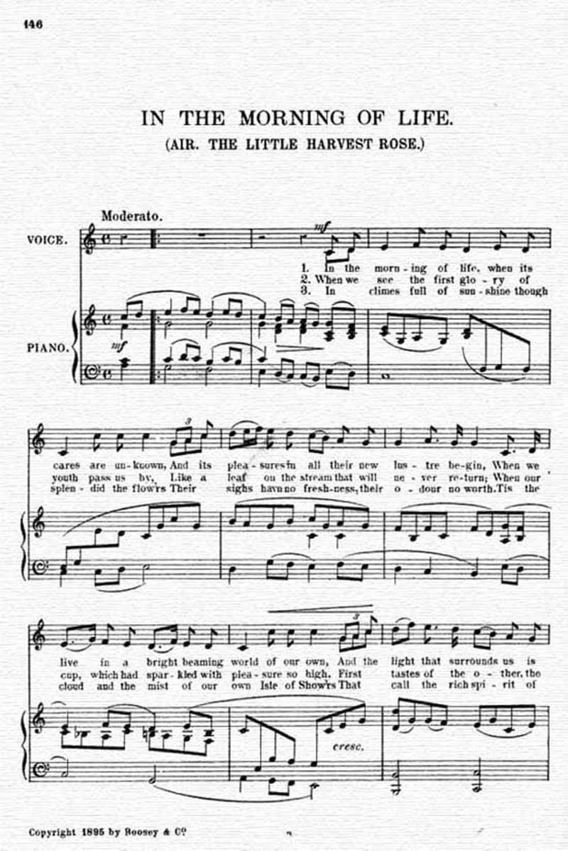 Music score to In the morning of life