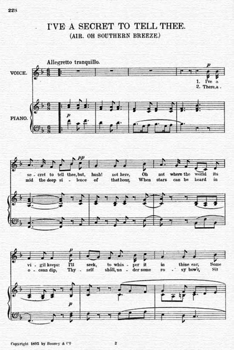 Music score to I've a secret to tell thee