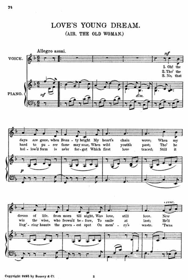Music score to Love's young dream