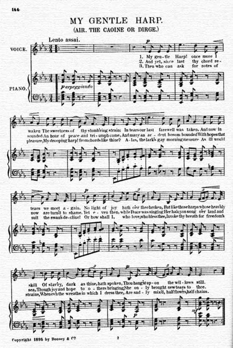 Music score to My gentle harp