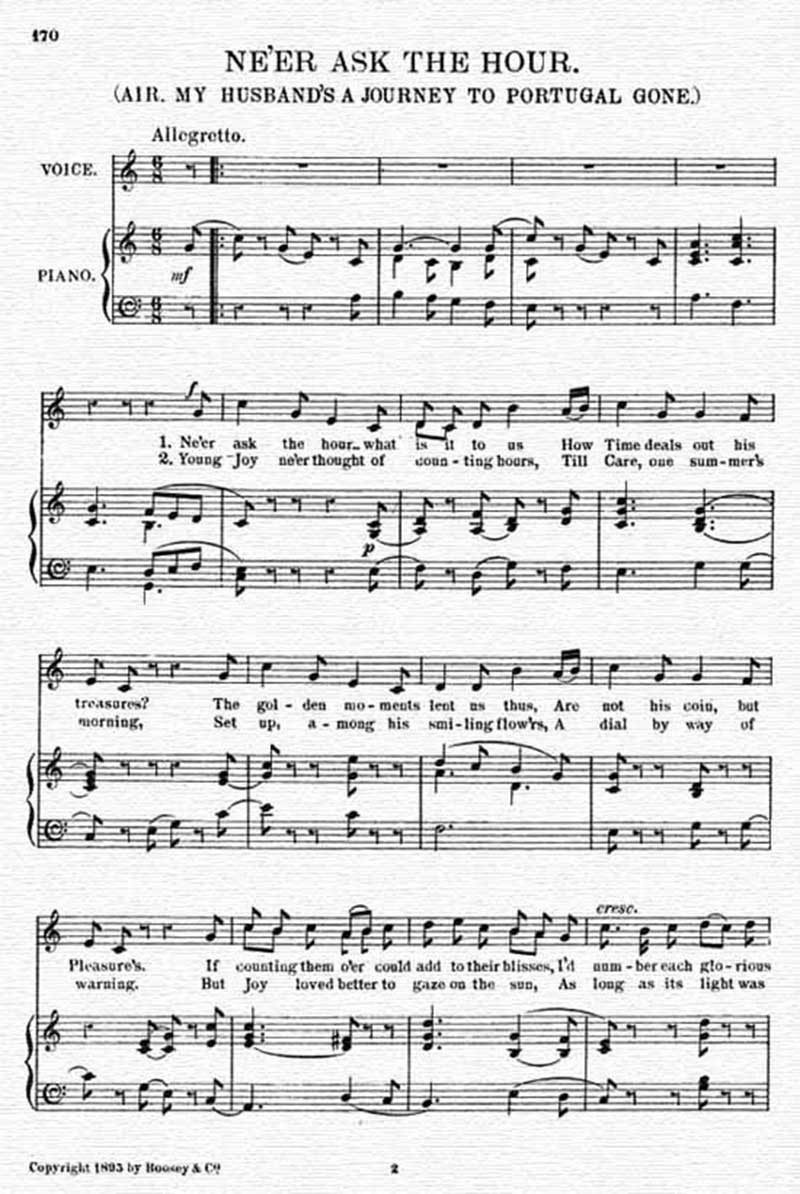Music score to Ne'er ask the hour