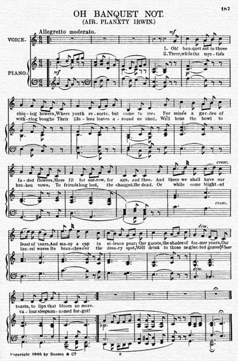 Music score to Oh banquet not