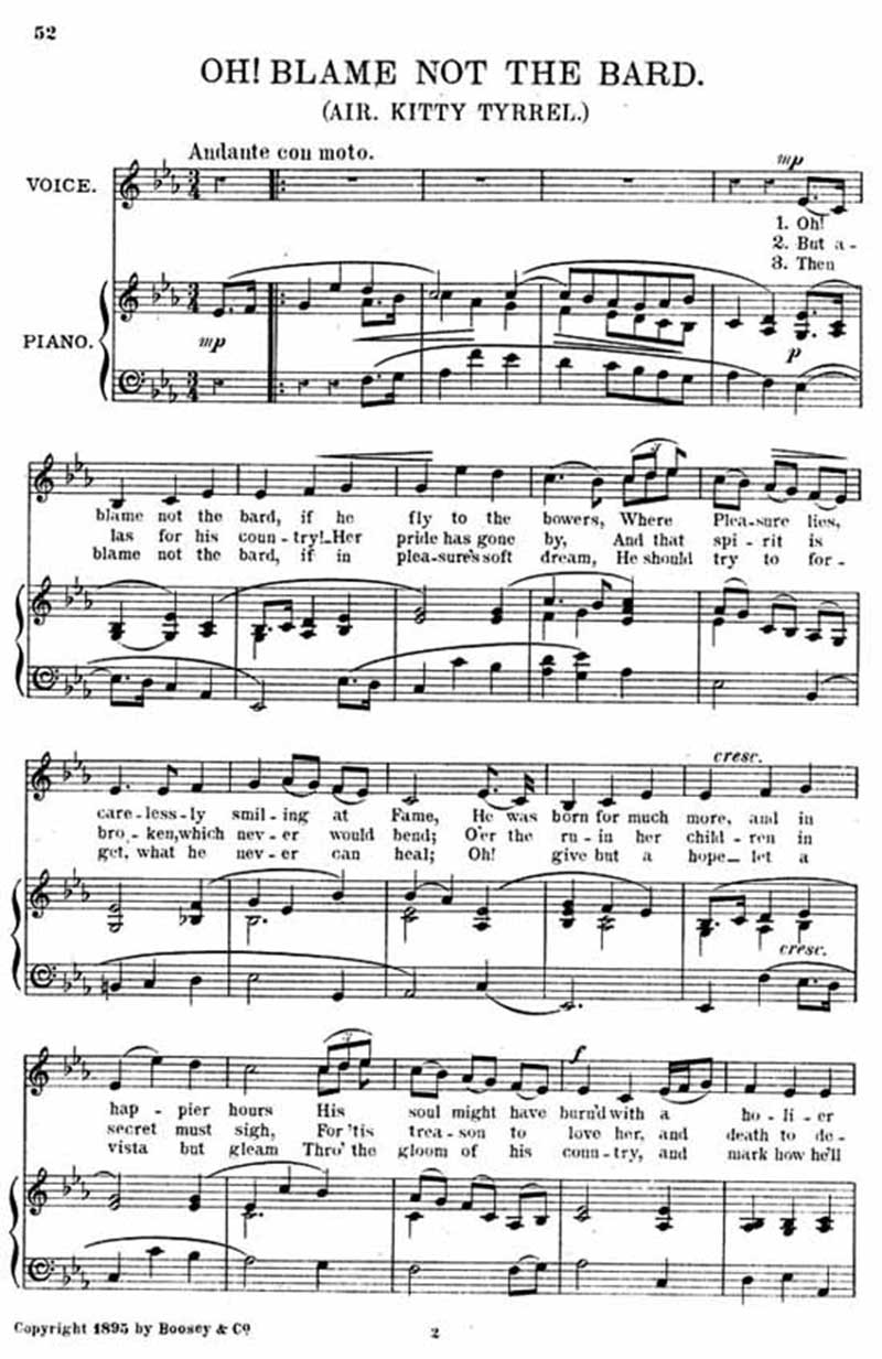Music score to Oh! Blame not the bard