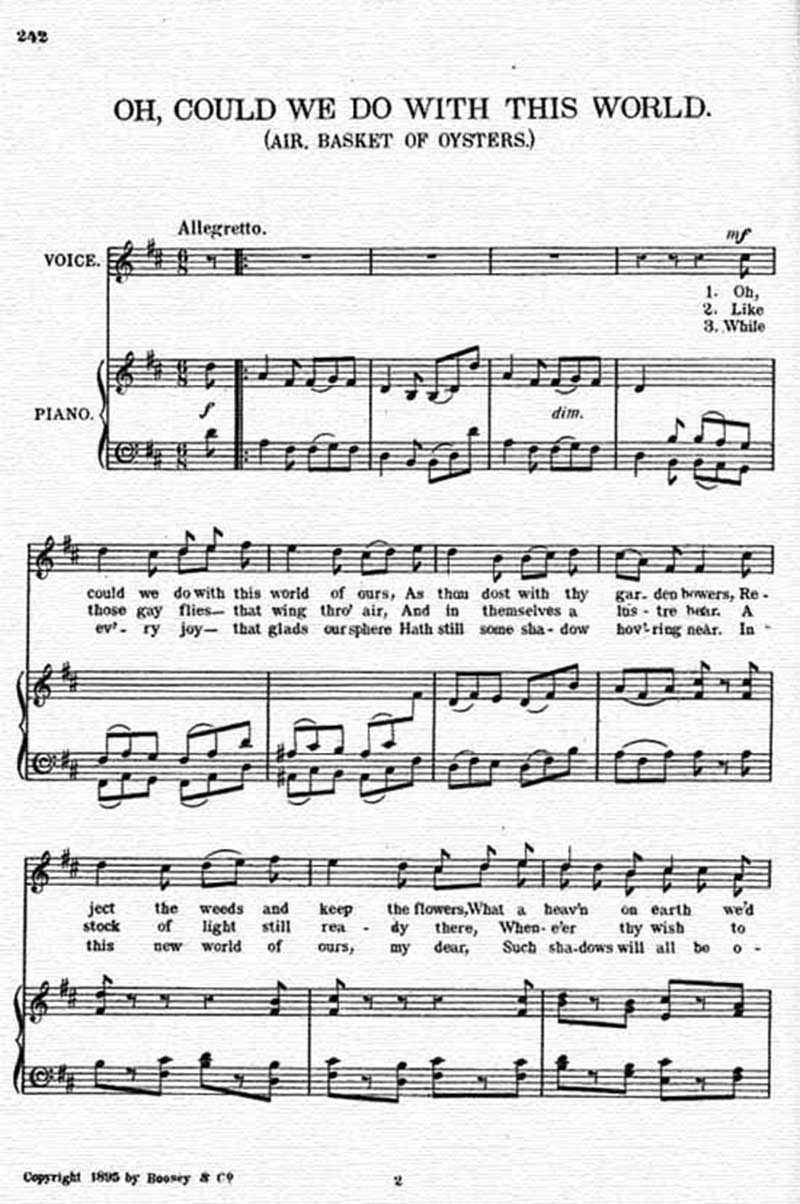 Music score to Oh, could we do with this world