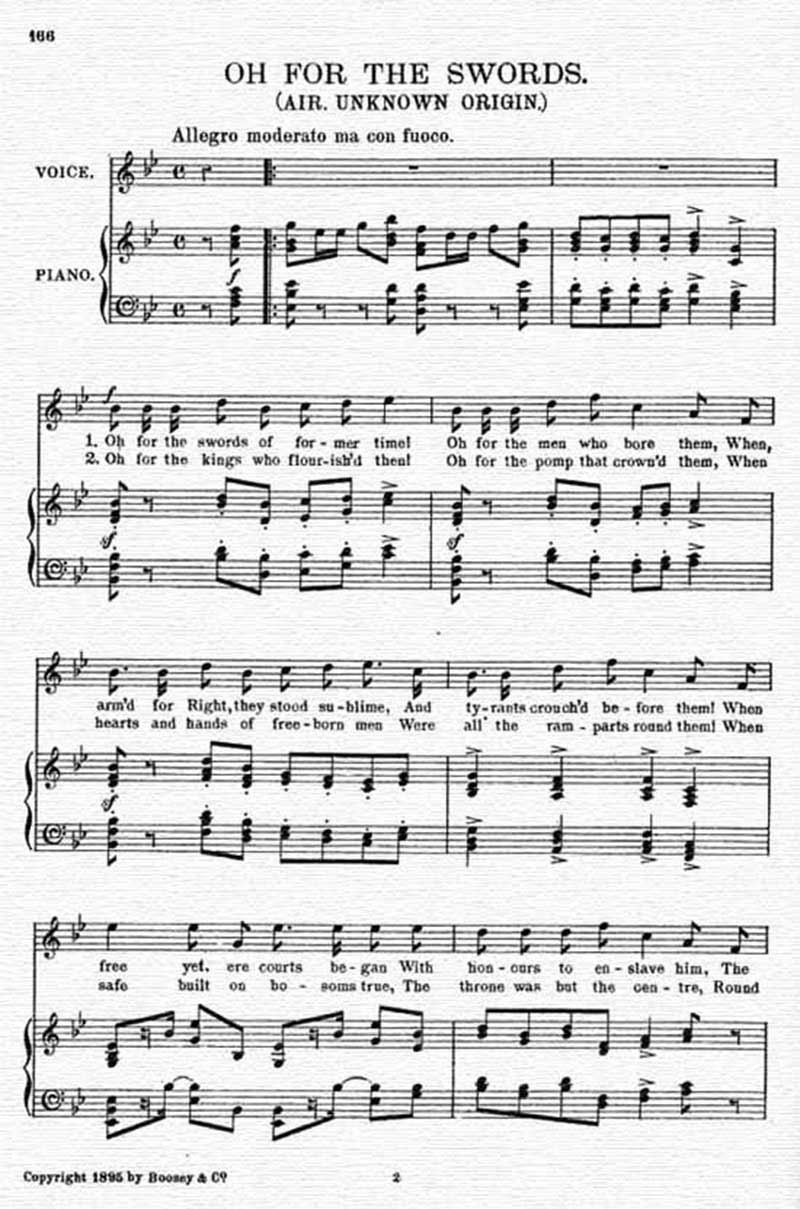 Music score to Oh for the swords