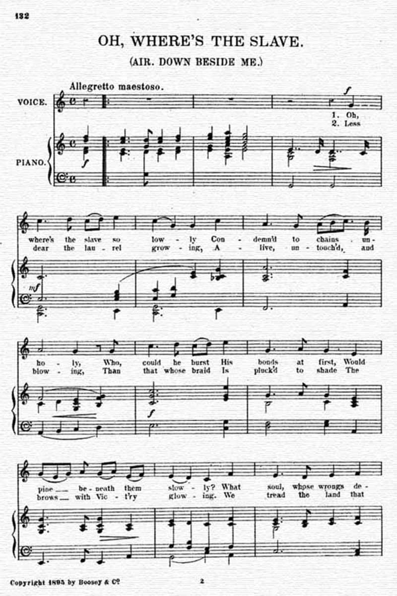 Music score to Oh, where's the slave