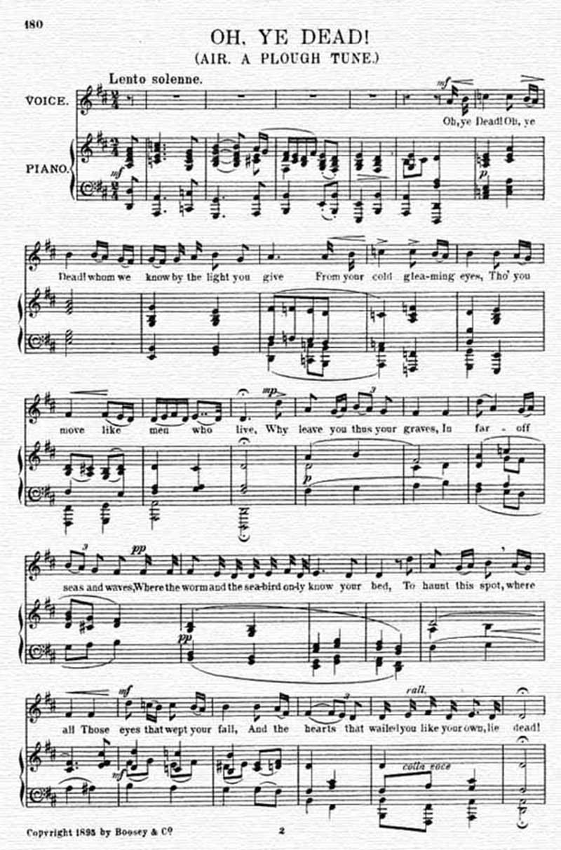 Music score to Oh, ye dead