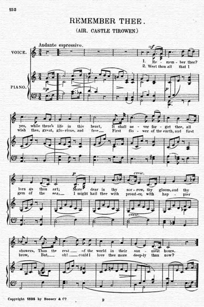 Music score to Remember thee