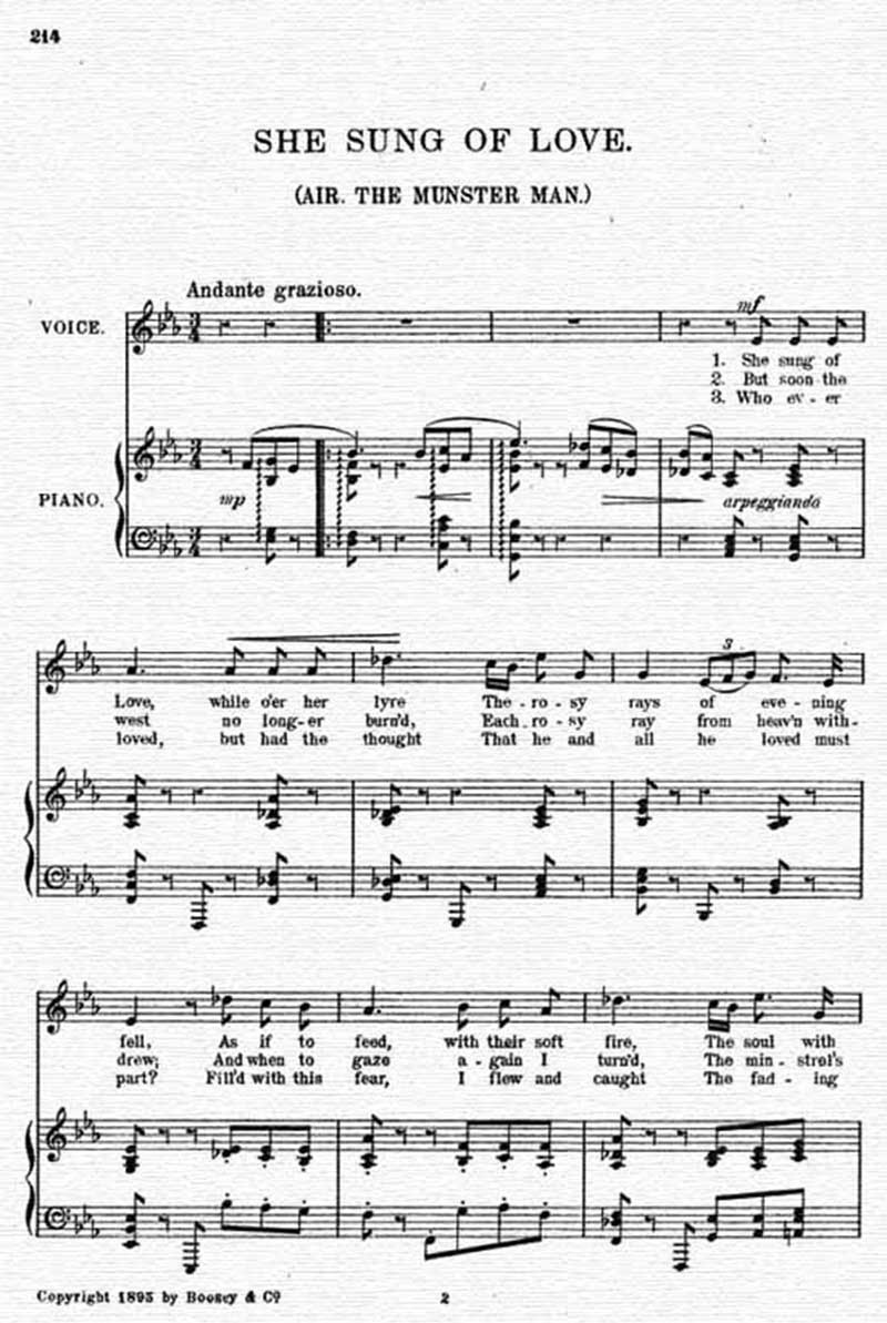 Music score to She sung of love