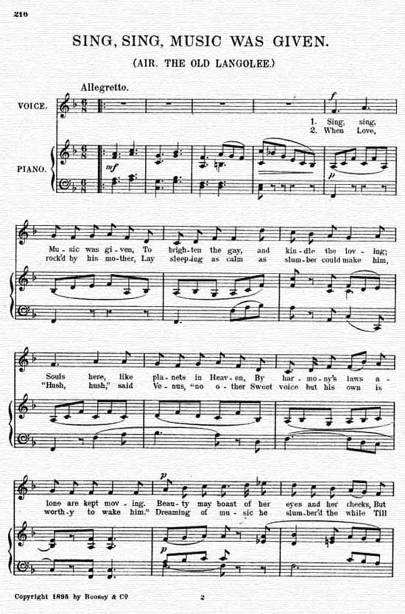 Music score to Sing, sing, music was given