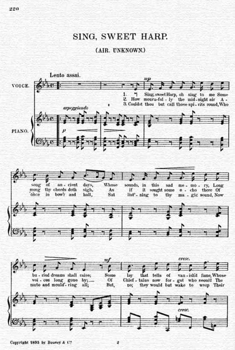 Sing, sweet harp  Air: Unknown - Irish Melodies