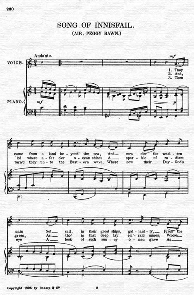 Music score to Song of Innisfail