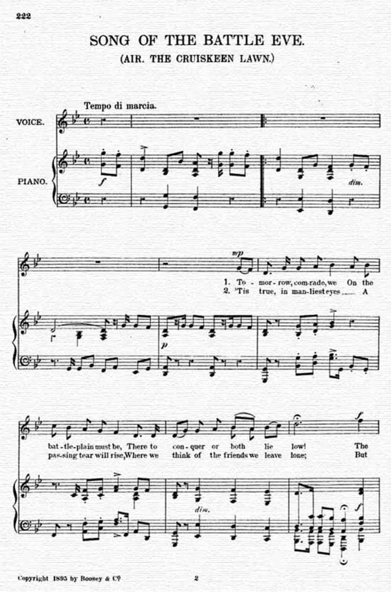Music score to Song of the battle eve