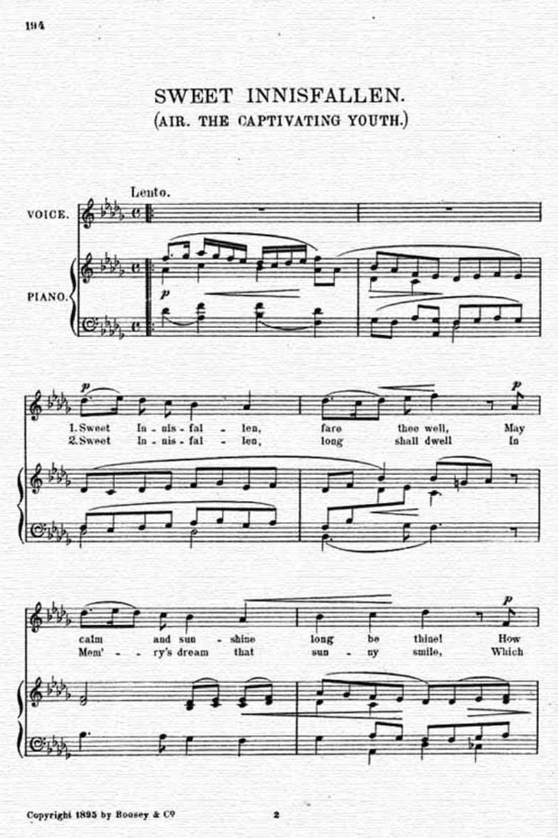 Music score to Sweet Innisfallen