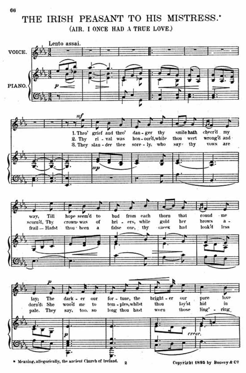 Music score to The Irish peasant to his mistress