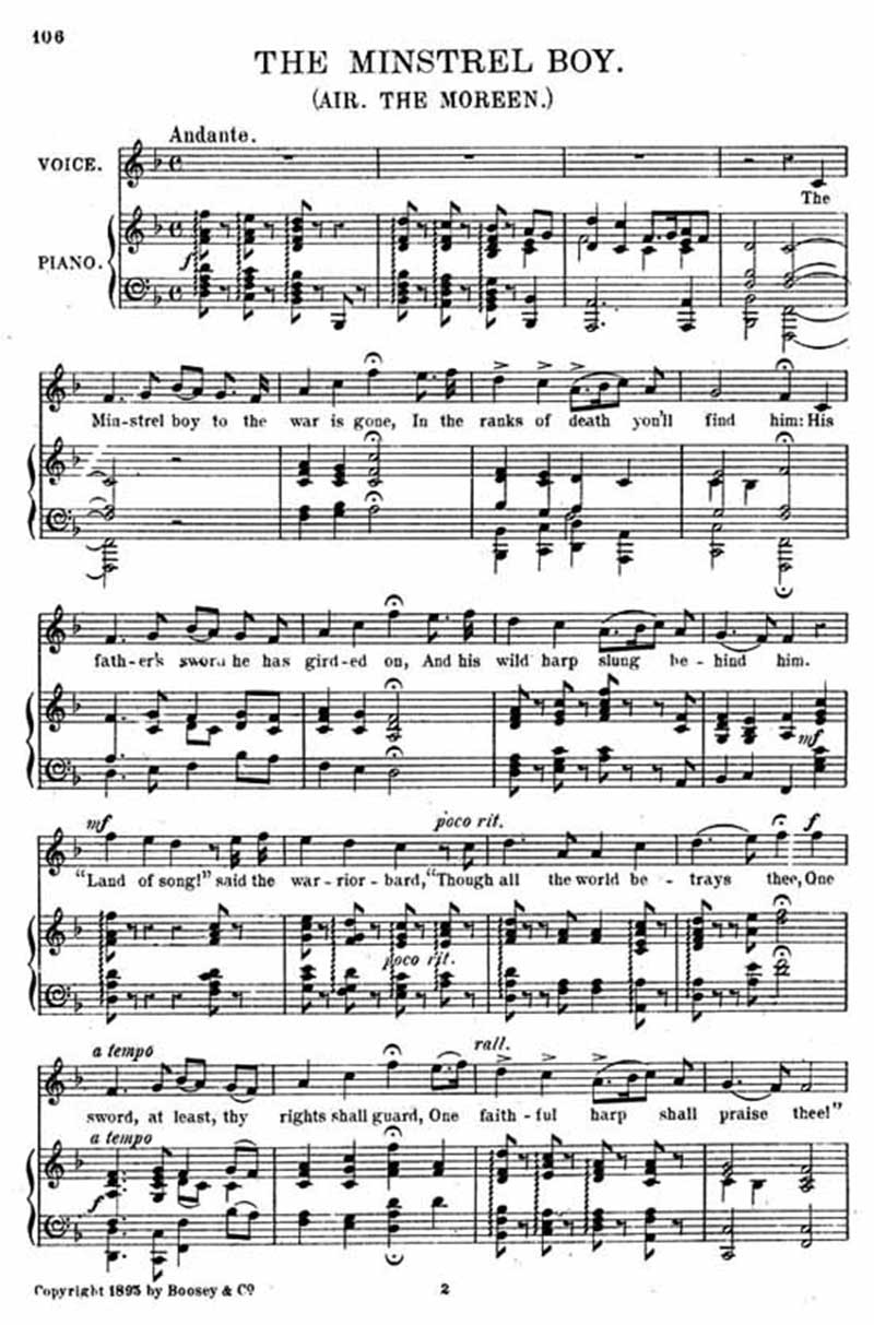 Music score to The minstrel boy