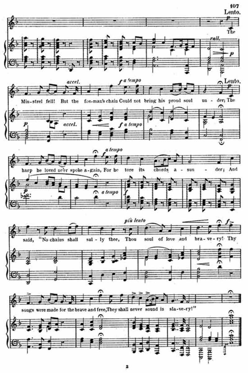 Music score to The minstrel boy