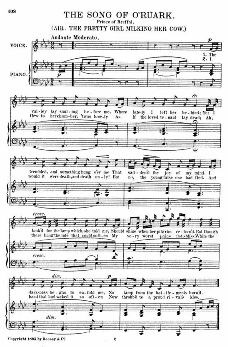Music score to The song of O'Ruark