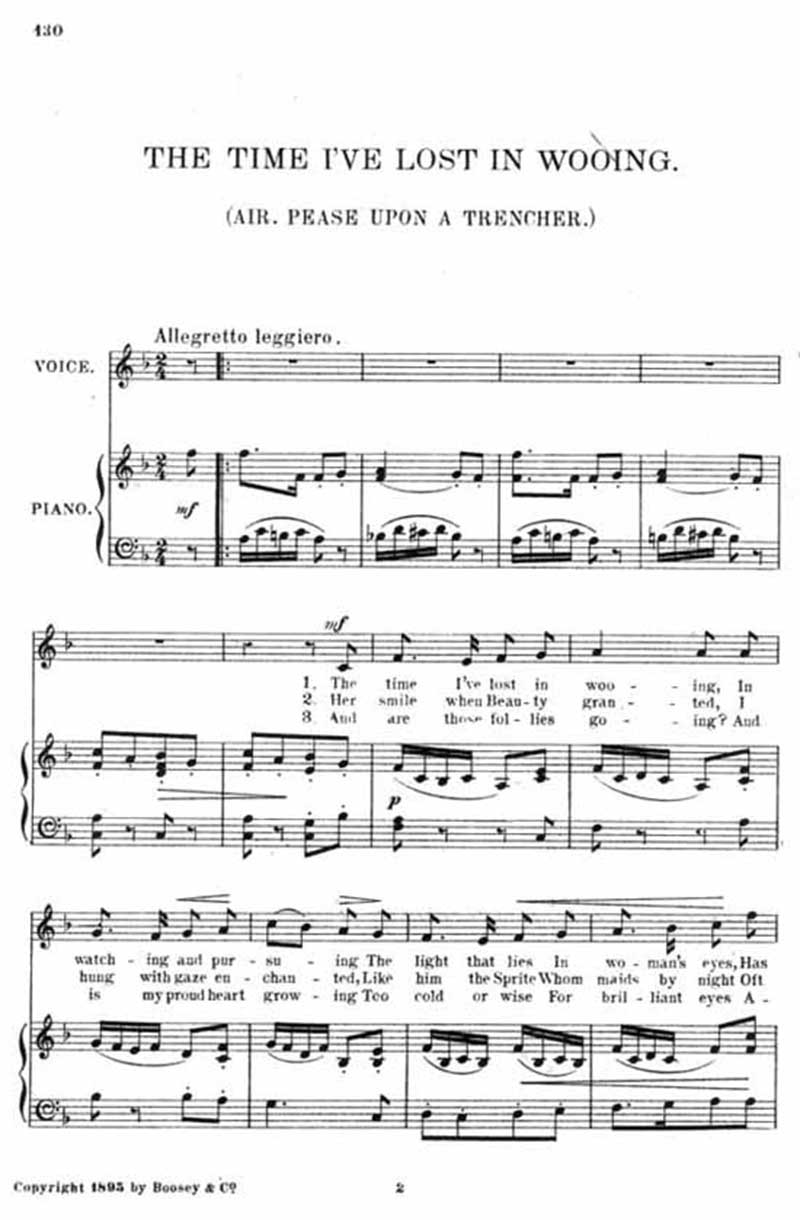 Music score to The time I've lost in wooing