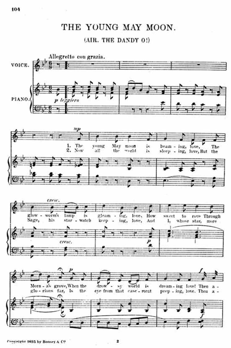 Music score to The young May moon