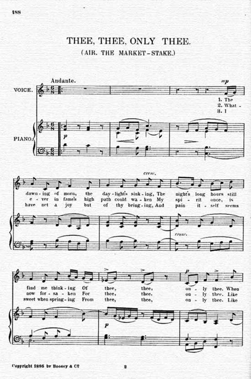 Music score to Thee, thee, only thee