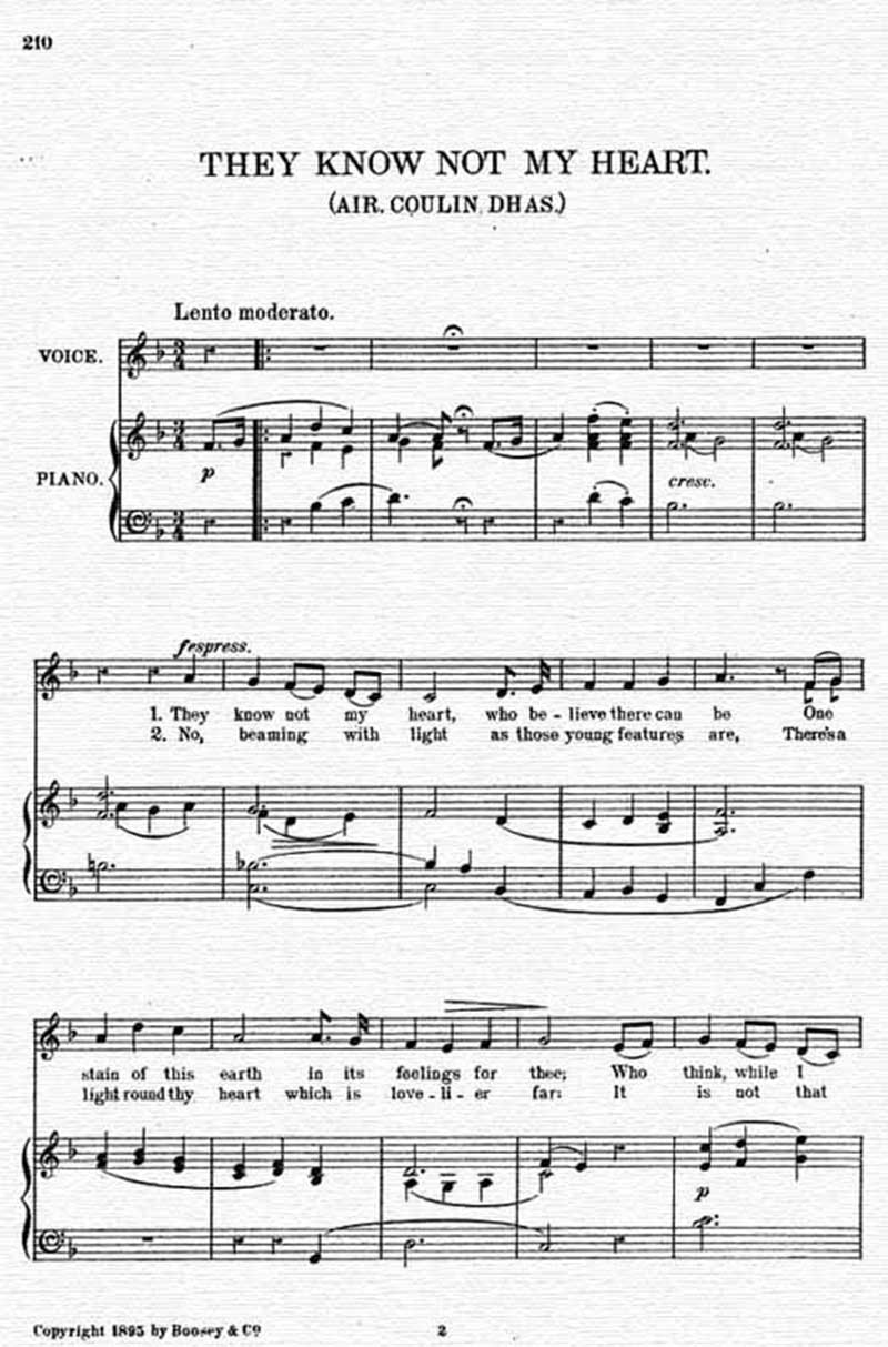 Music score to They know not my heart