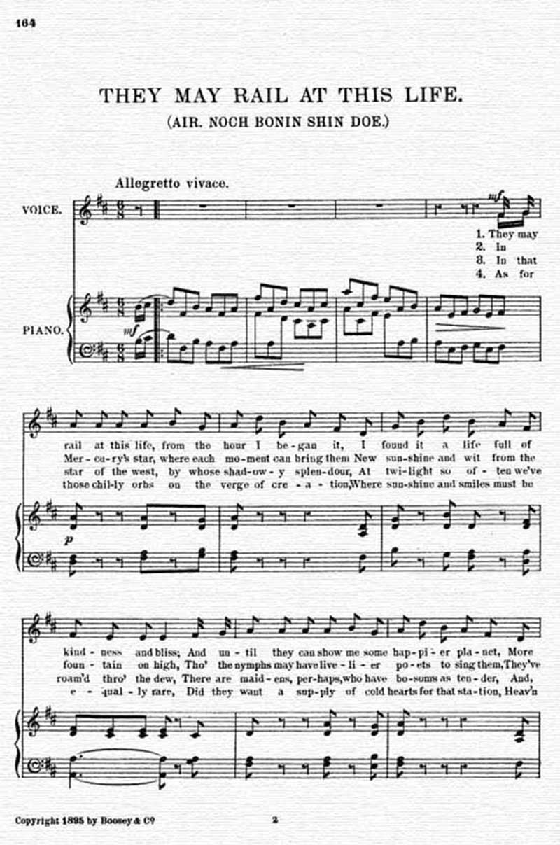 Music score to They may rail at this life