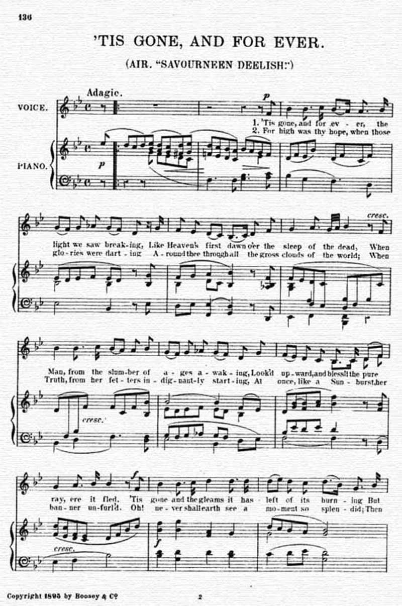 Music score to Tis gone and for ever